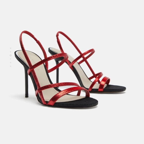 red strappy shoes